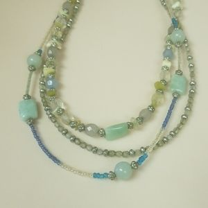 Lia Sophia beaded and wire necklace in green/blues